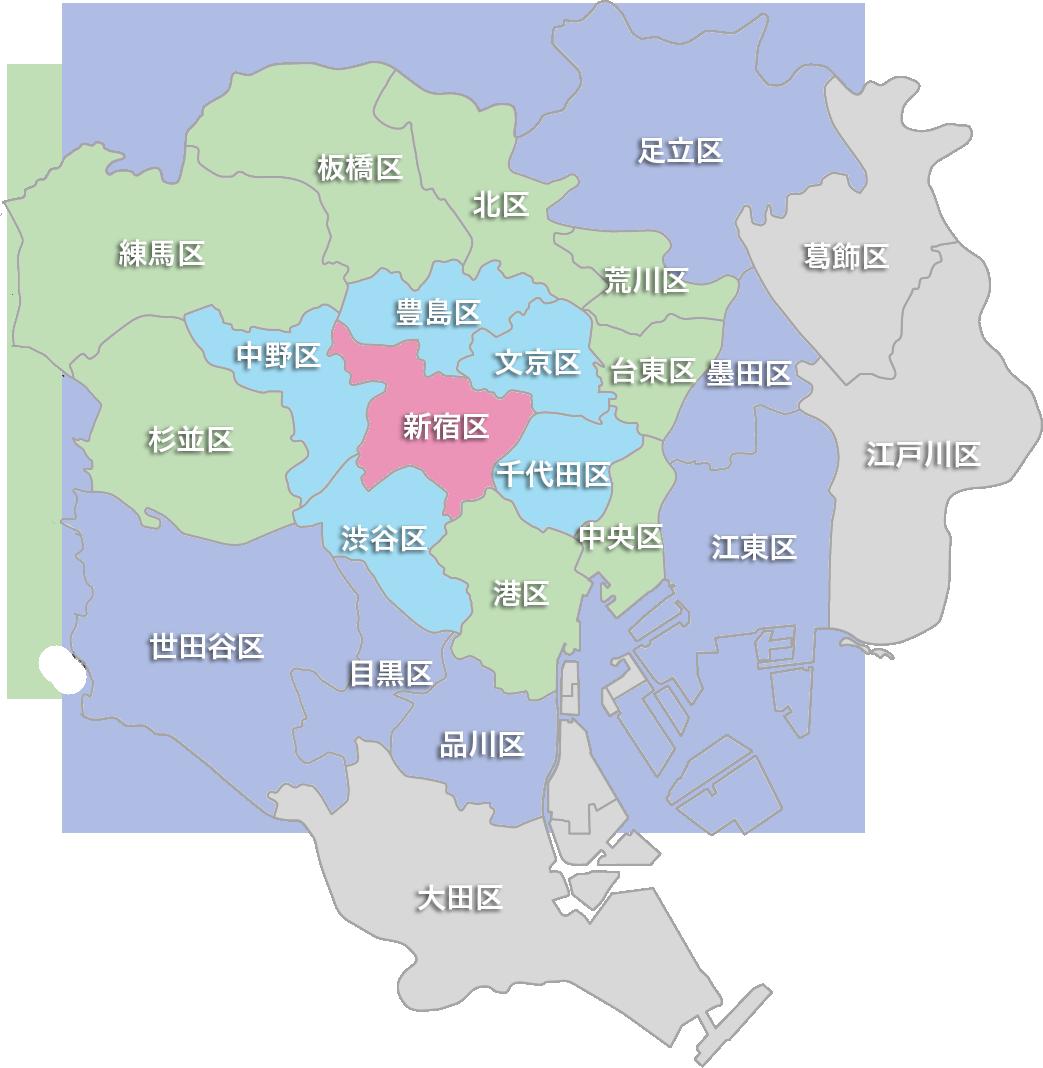 東京23区の交通費マップ